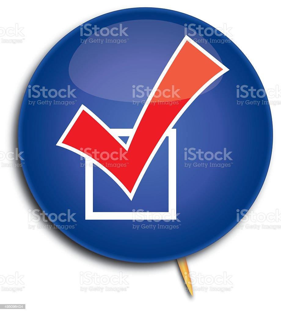 Vote Check Mark Pin vector art illustration