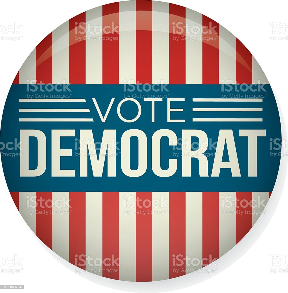Vote Democrat 2016 Campaign Election Pin Button Badge vector art illustration