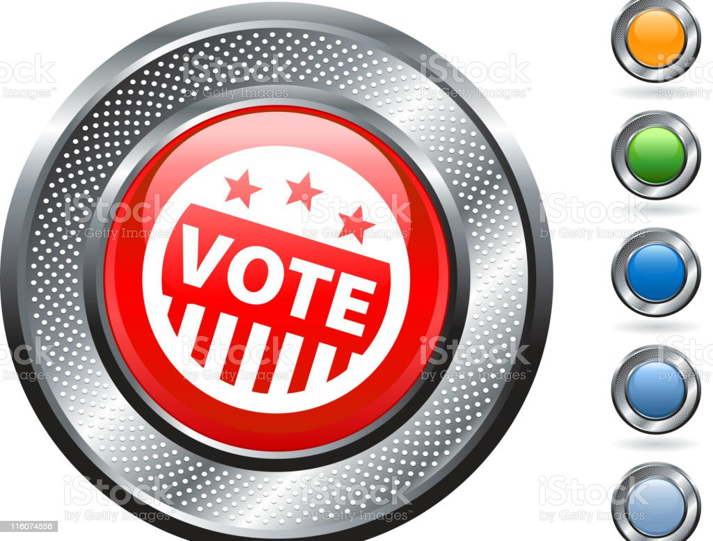 vote, election royalty free vector art on metallic button royalty-free stock vector art