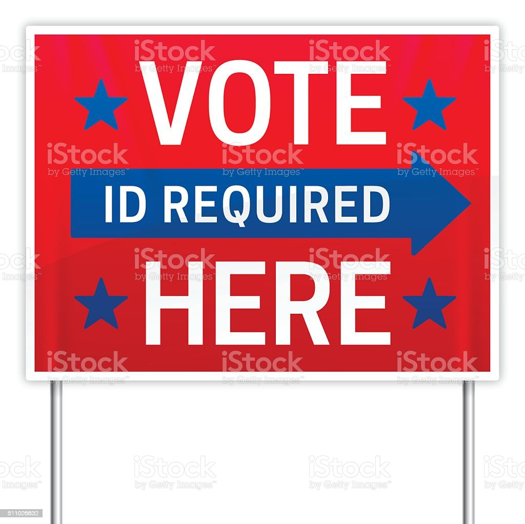 Vote Here ID Required Yard Sign vector art illustration