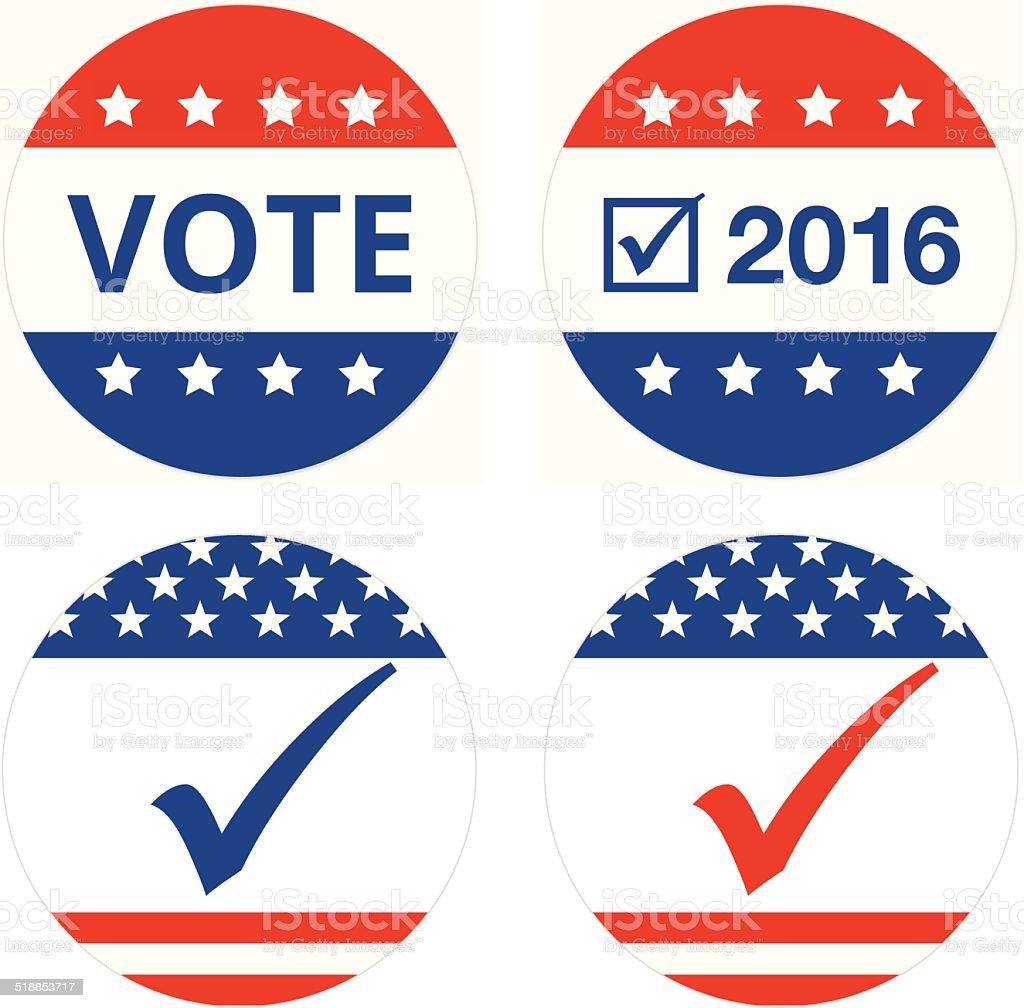 vote or election badges vector art illustration
