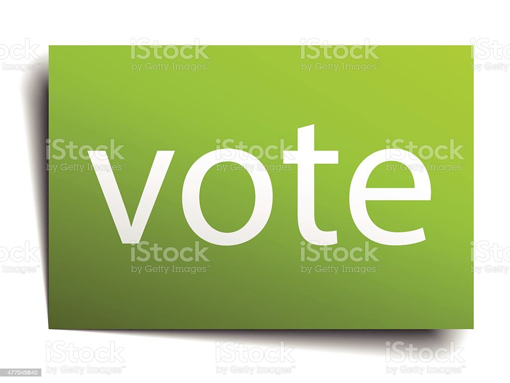 vote square paper sign isolated on white vector art illustration