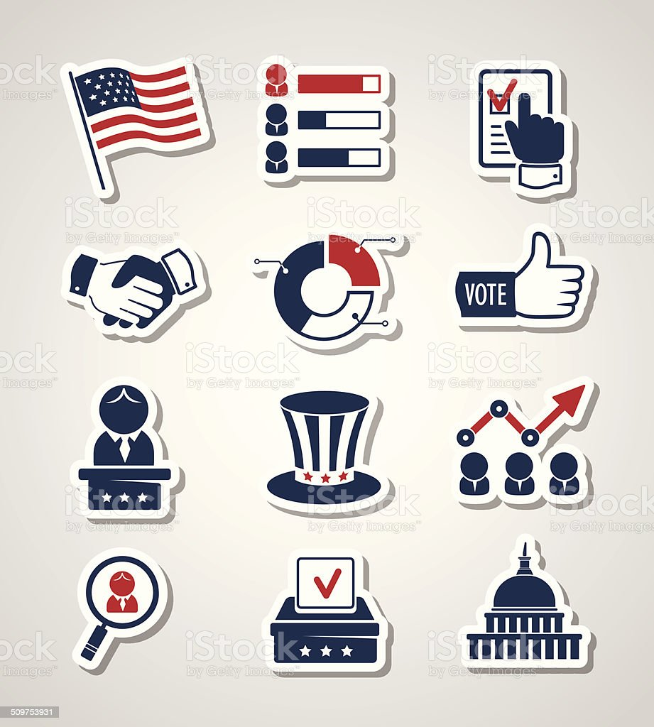 Voting and elections paper cut icons vector art illustration