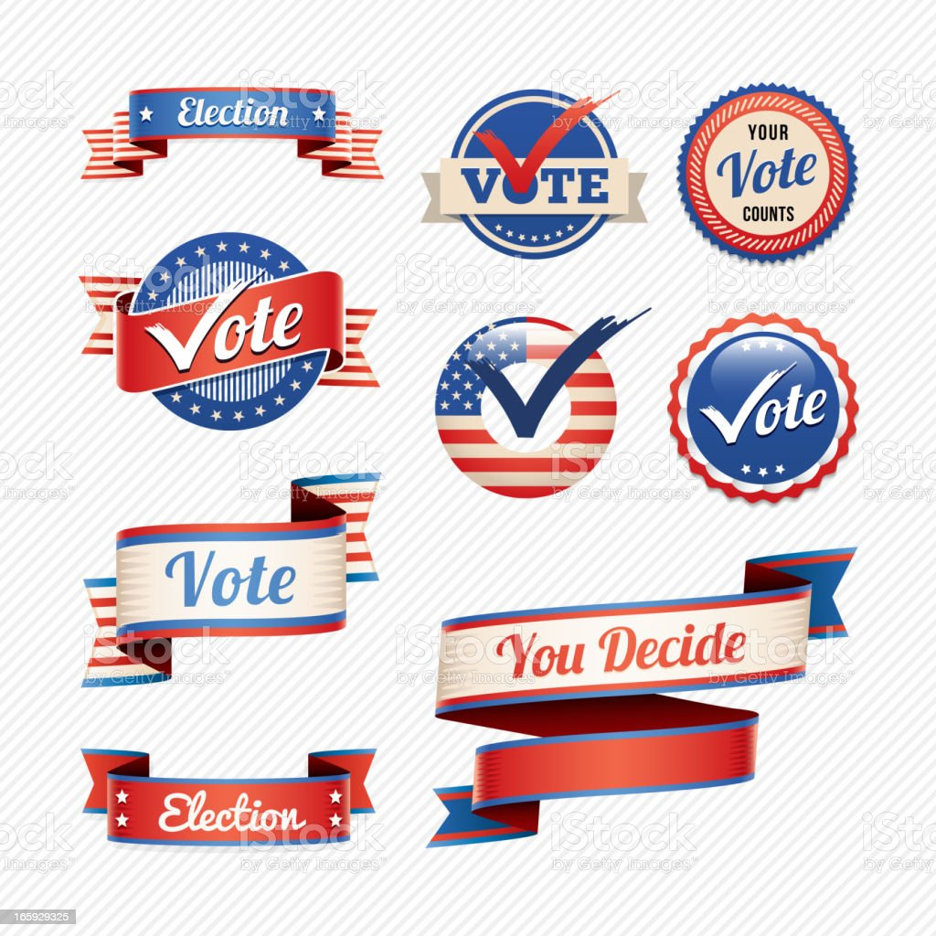 Voting badges and banners vector art illustration