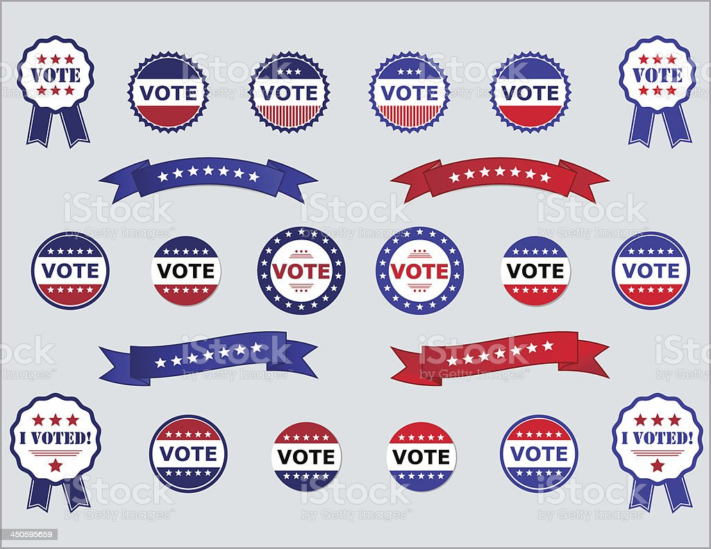 Voting Badges and Stickers for Elections vector art illustration