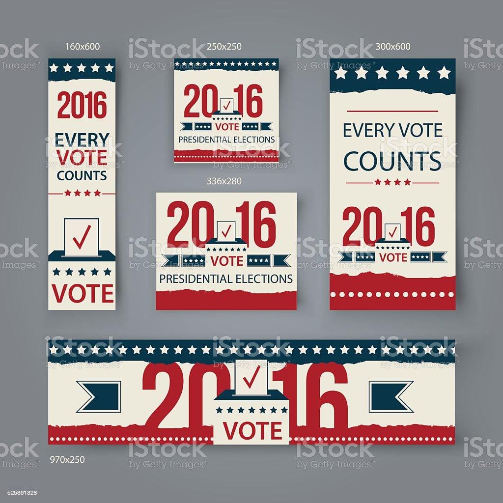 Voting Banners vector set design. US presidential election in 2016. vector art illustration