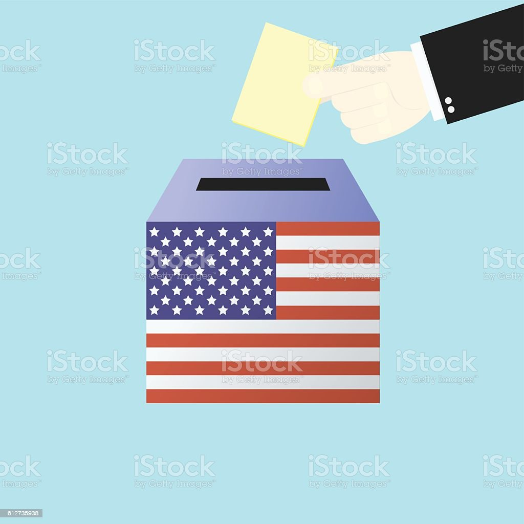 Voting concept by Hand putting paper in  ballot box USA vector art illustration