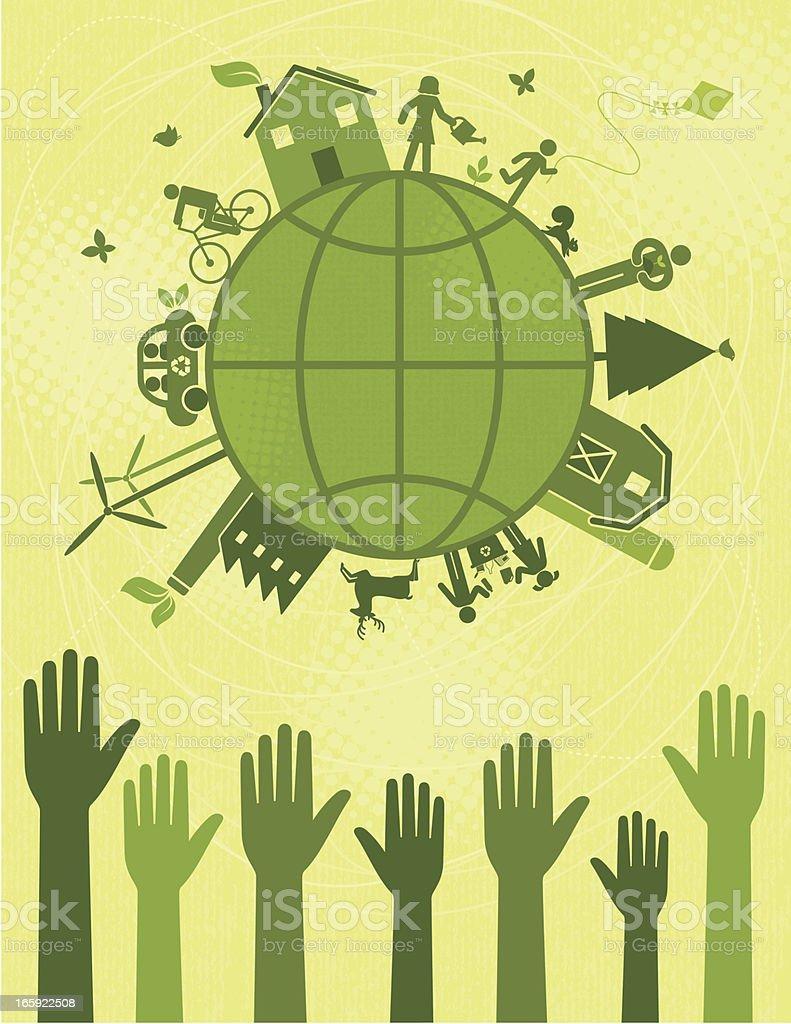 Voting for a Greener World vector art illustration