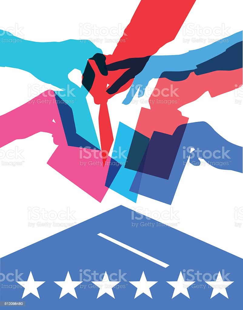 voting in USA elections vector art illustration