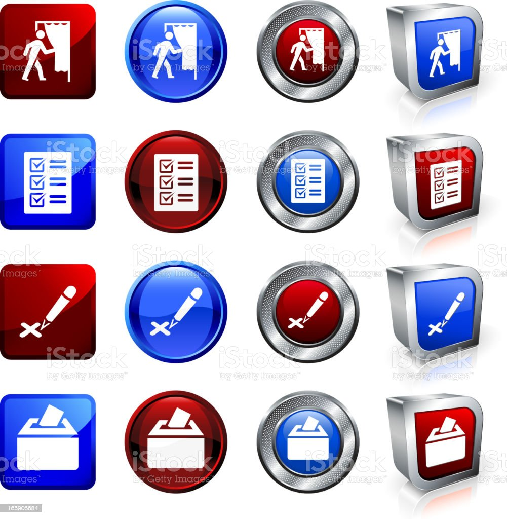 Voting on American Election Day royalty free vector button set royalty-free stock vector art