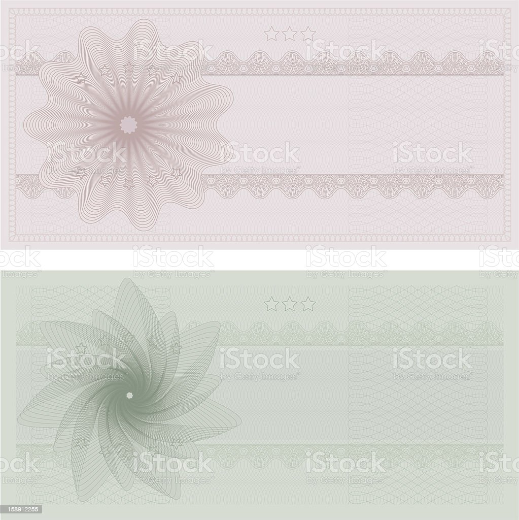 Voucher / Coupon / Gift certificate tmplate (banknote, money, currency, cheque, check) royalty-free stock vector art