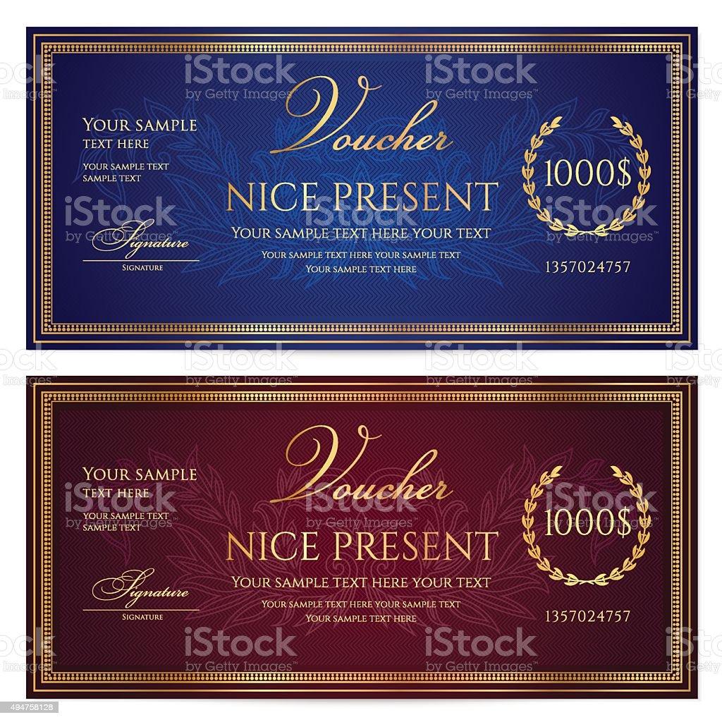 Voucher, Gift certificate, Coupon, Gift money bonus, ticket template vector art illustration