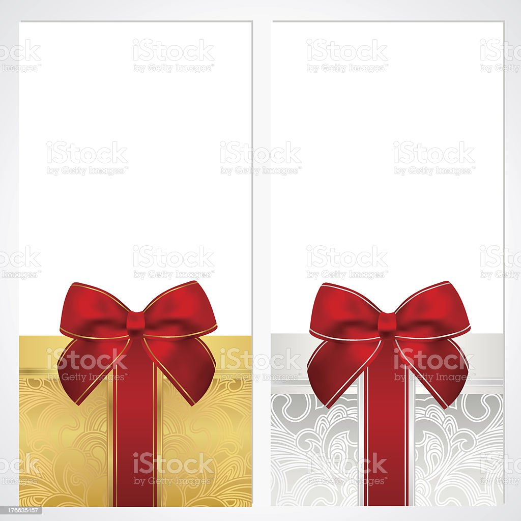 voucher gift certificate coupon layout bow box banner design stock 1 credit