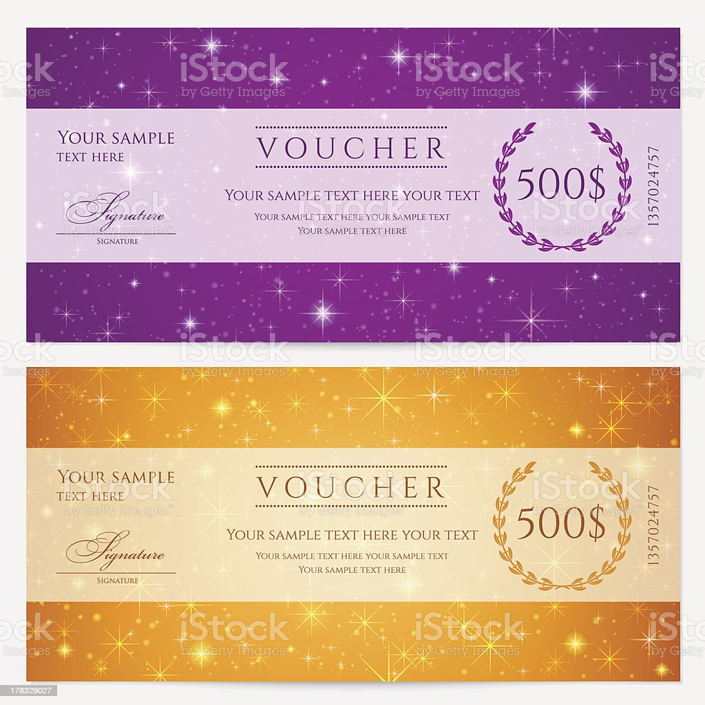 voucher gift certificate ticket coupon template sparkling voucher gift certificate ticket coupon template sparkling twinkling stars background