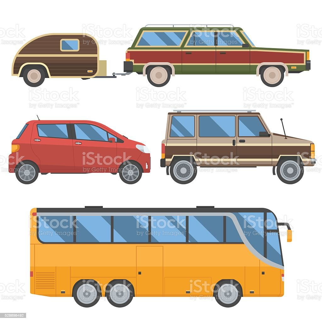 Voyage Cars Set vector art illustration