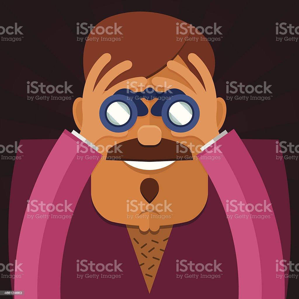 Voyeur man dressed in pink vector art illustration
