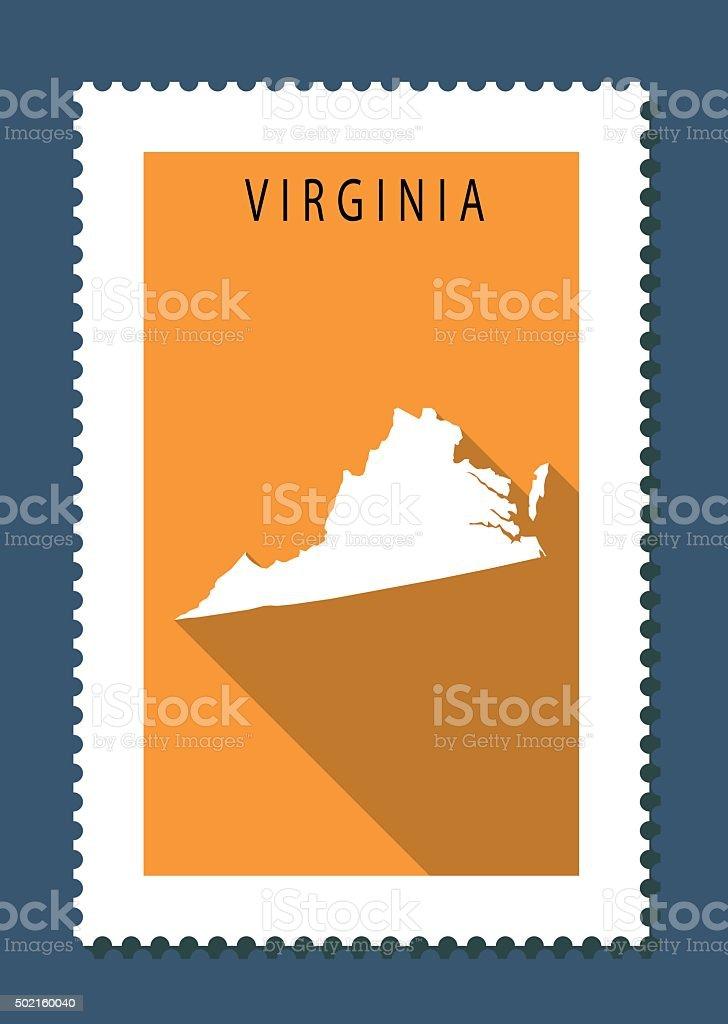 Vırginia Map on Orange Background, Long Shadow, Flat Design,stamp vector art illustration