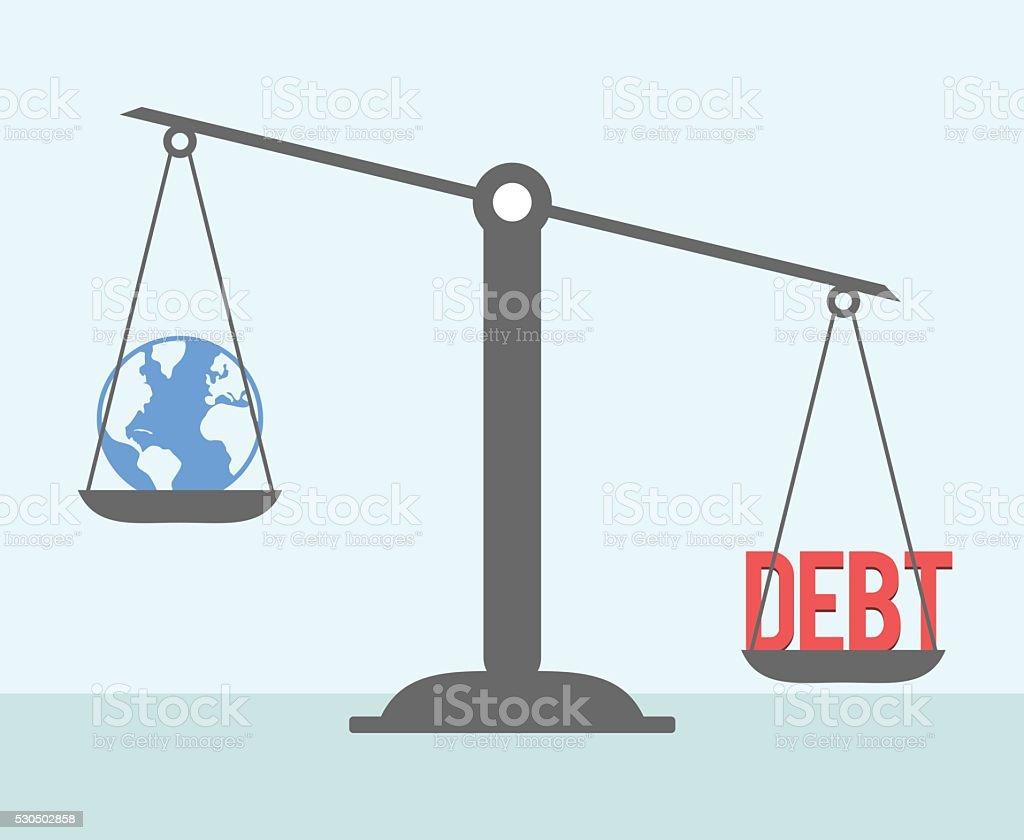 DEBT vs. WORLD. vector art illustration