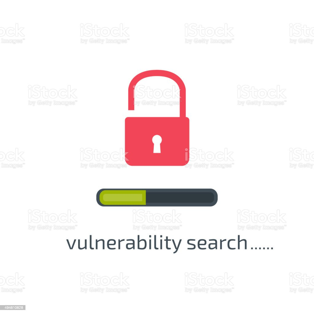 Vulnerability search concept in flat style. Vector illustration vector art illustration