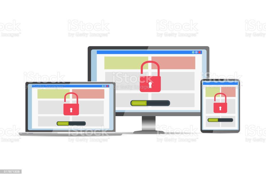 Vulnerability search. SEO optimization,web analytics, programming process  elements. vector art illustration