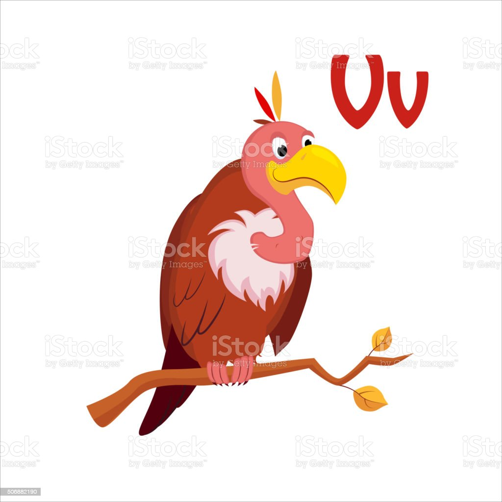 Vulture. Funny Alphabet, Animal Vector Illustration vector art illustration