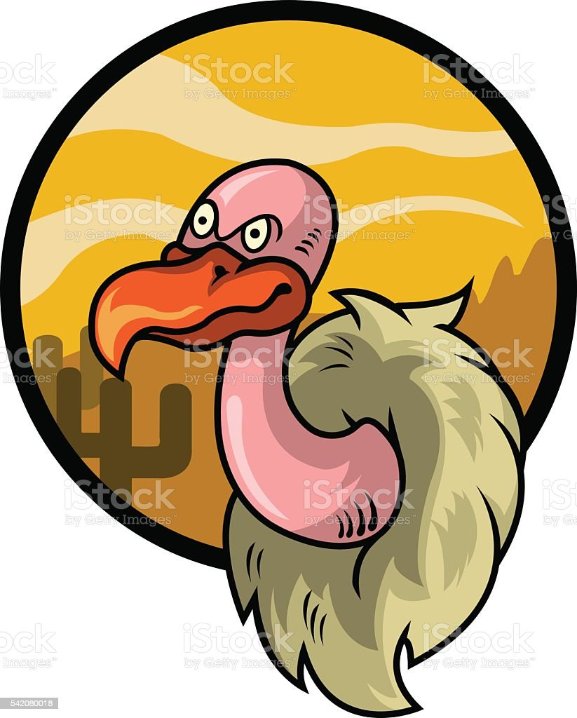 Vulture Head vector art illustration