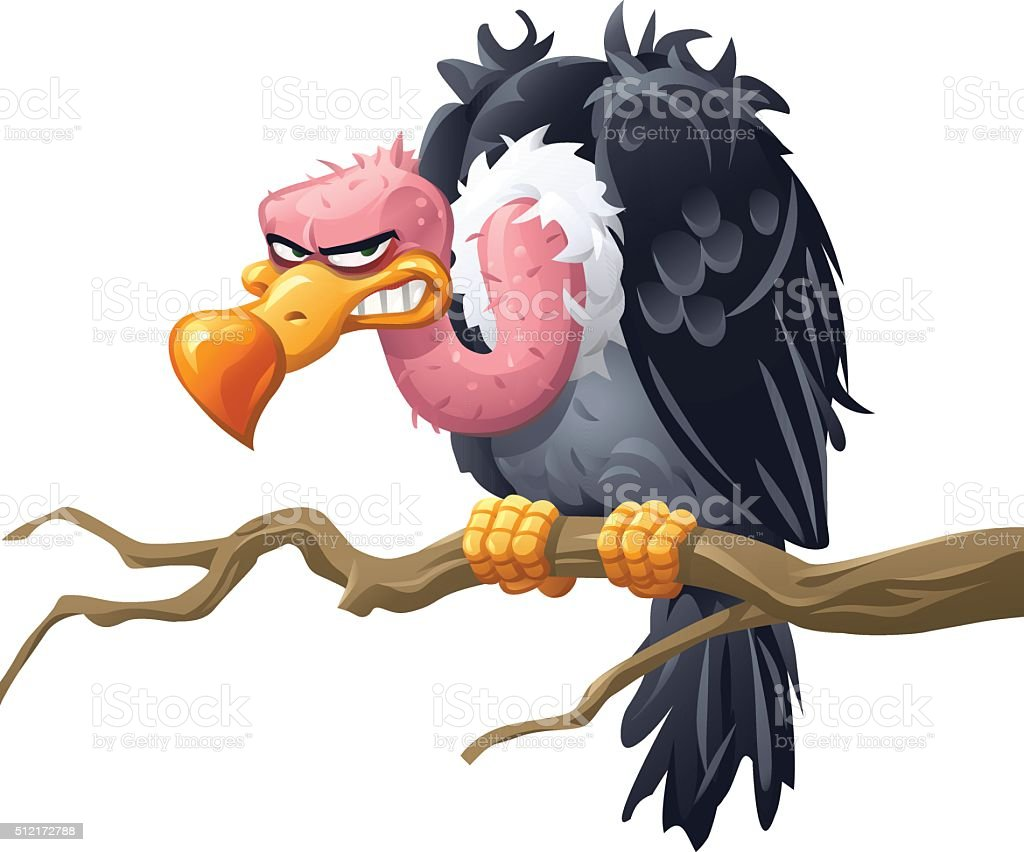Vulture Sitting On A Branch vector art illustration
