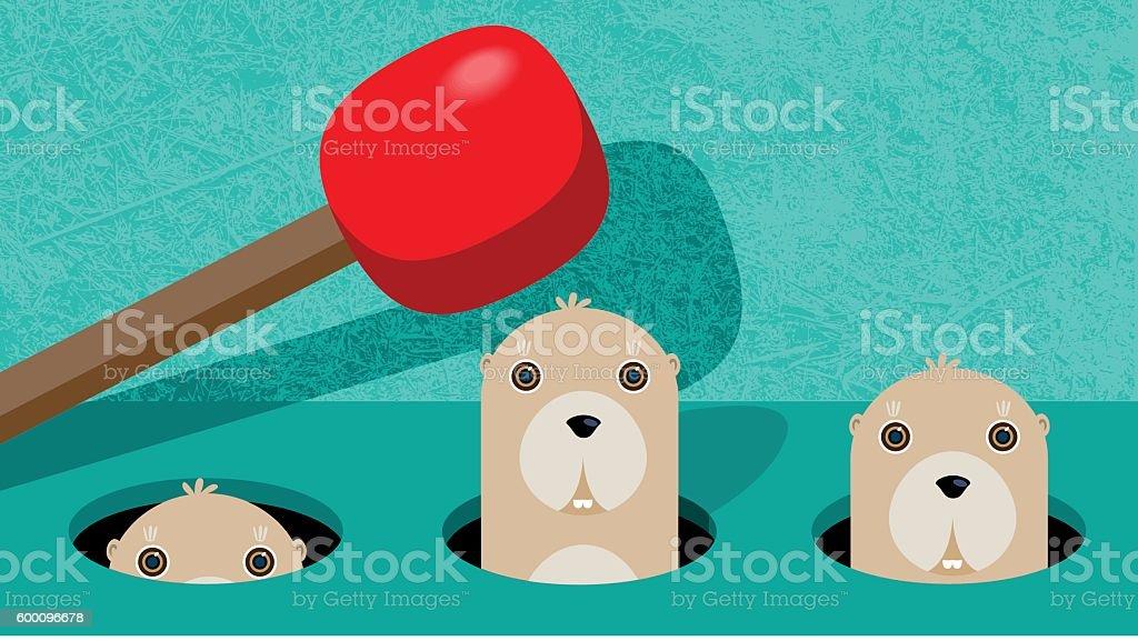 Wack-a-Mole vector art illustration