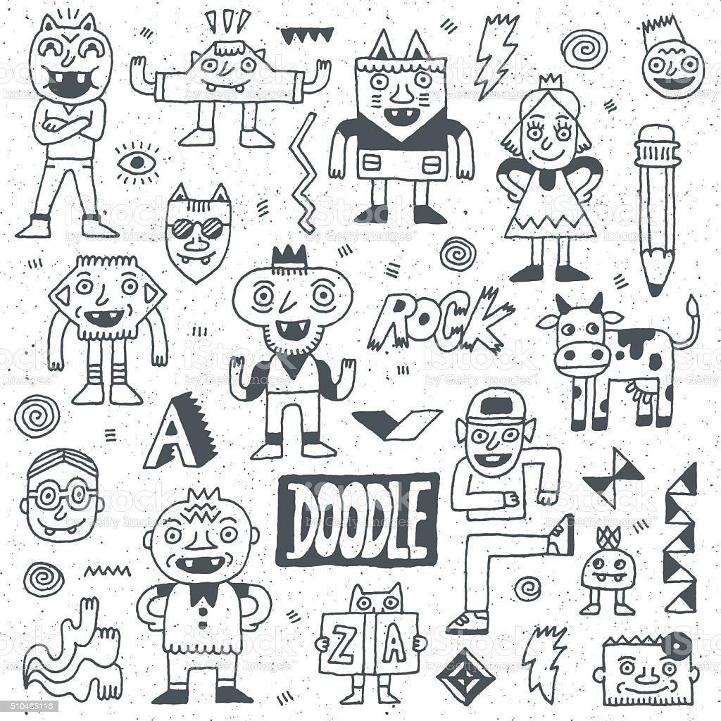 Wacky Funny Fantastic Doodle Characters Set 1. vector art illustration