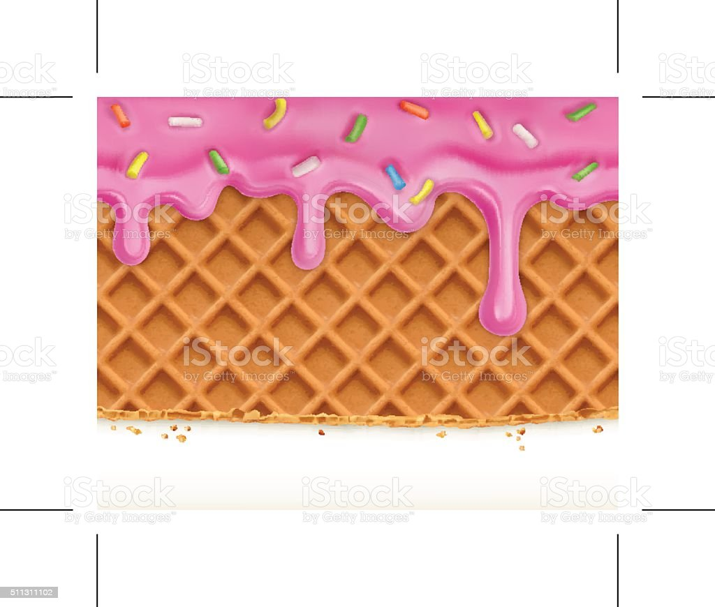 Waffles and glaze, horizontal seamless vector pattern vector art illustration