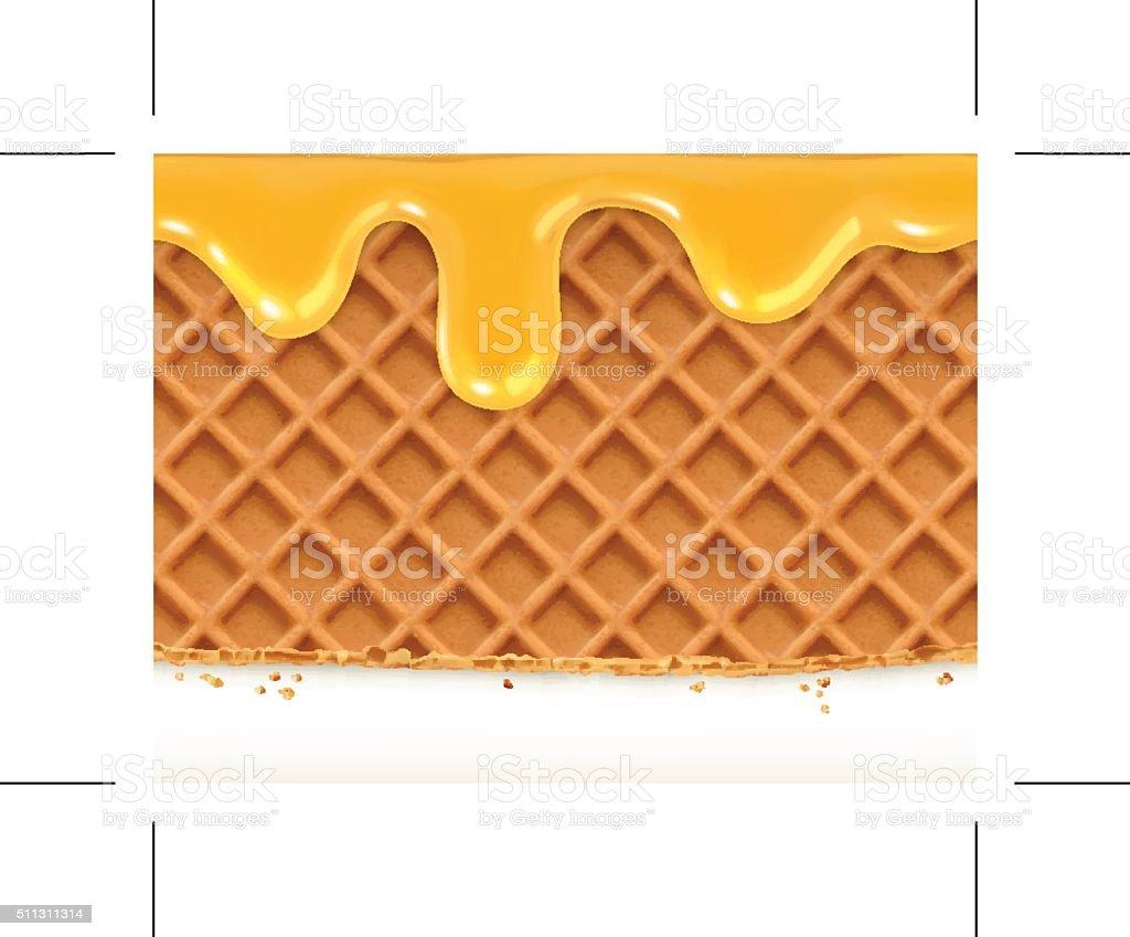 Waffles and honey, horizontal seamless vector pattern vector art illustration