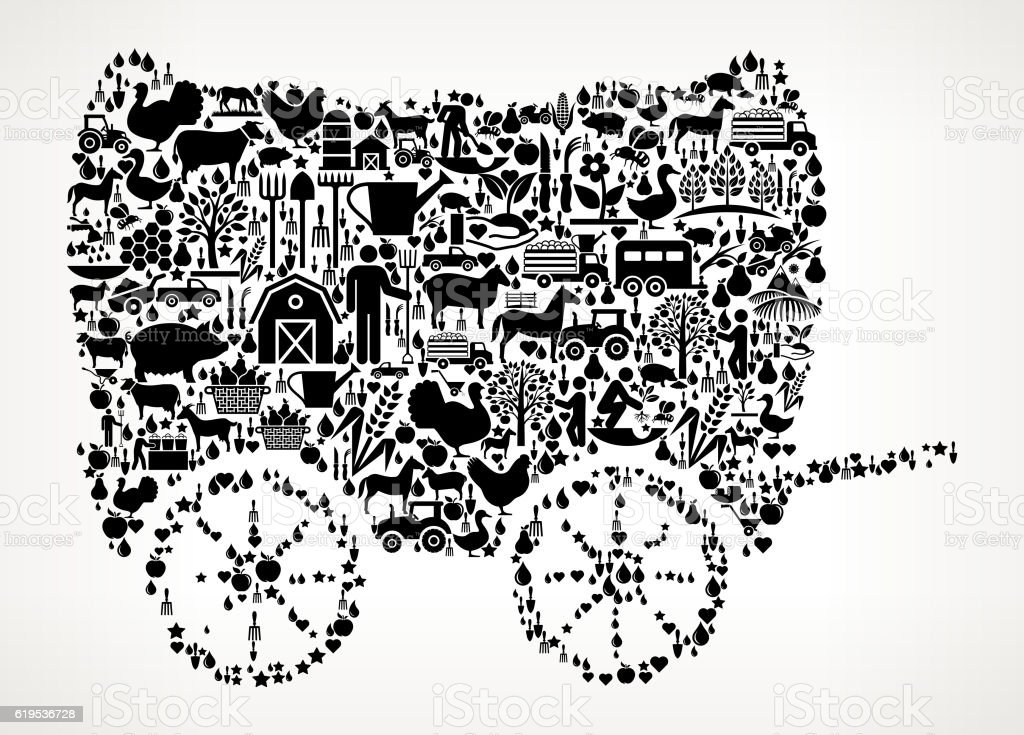 Wagon Farming and Agriculture Black Icon Pattern vector art illustration