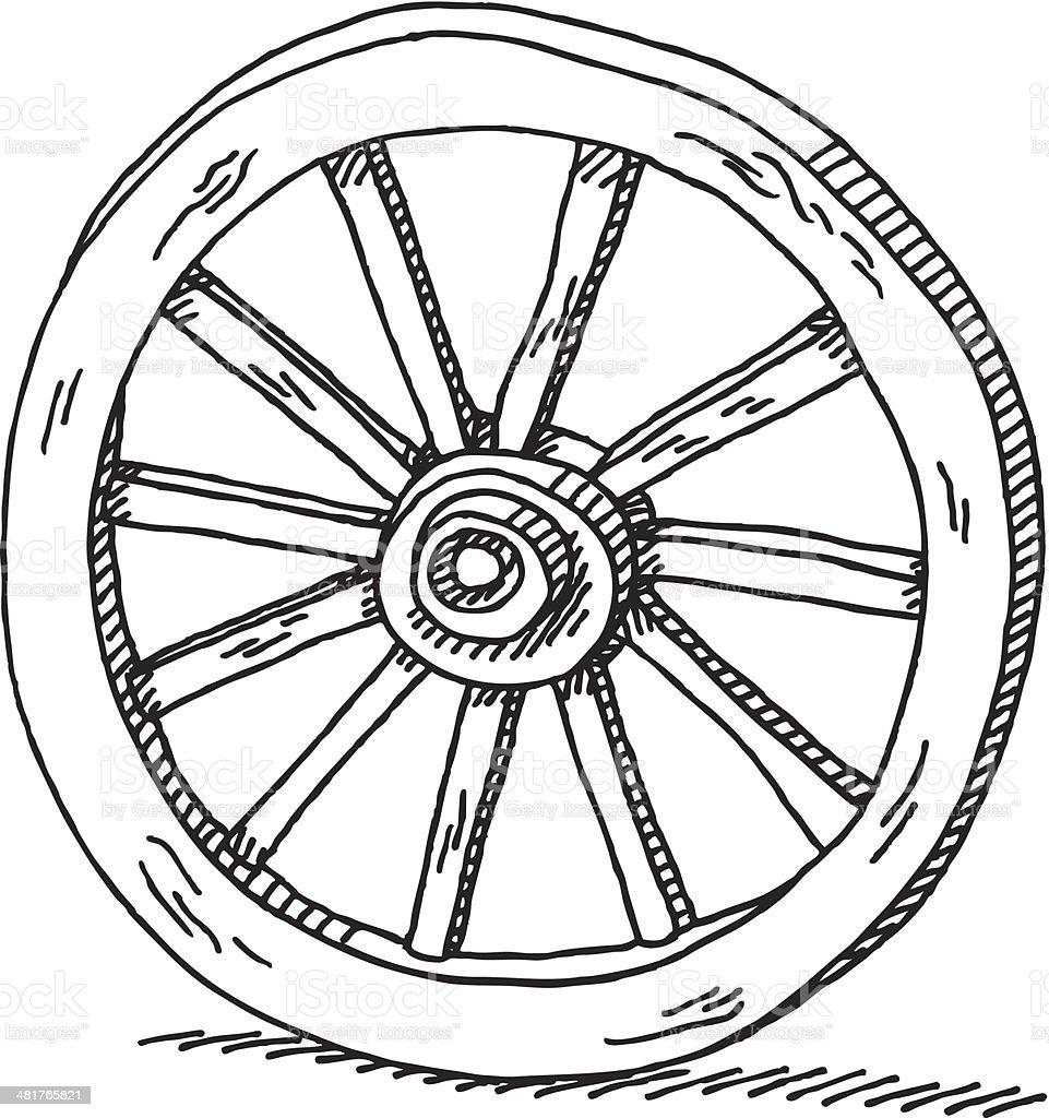 Wagon Wheel Drawing vector art illustration