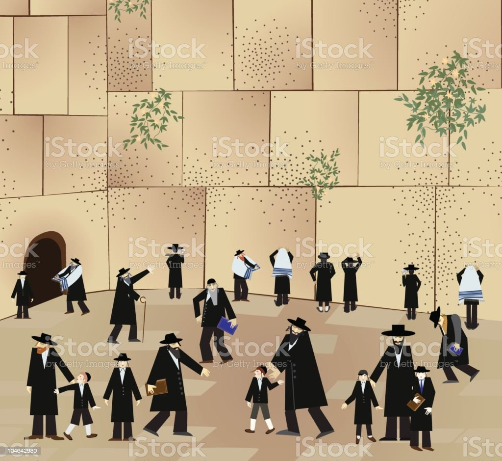 Wailing Wall In Jerusalem vector art illustration