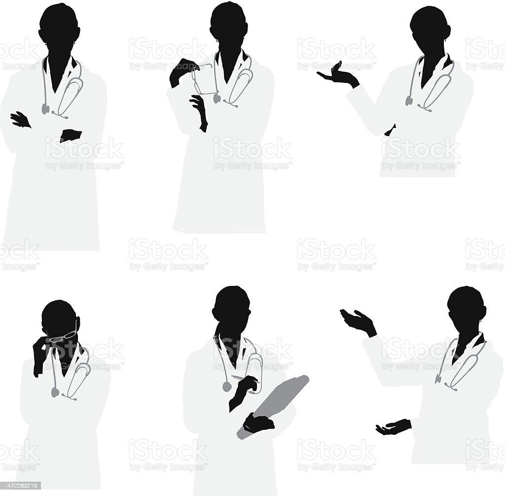 Waist up female doctor vector images vector art illustration