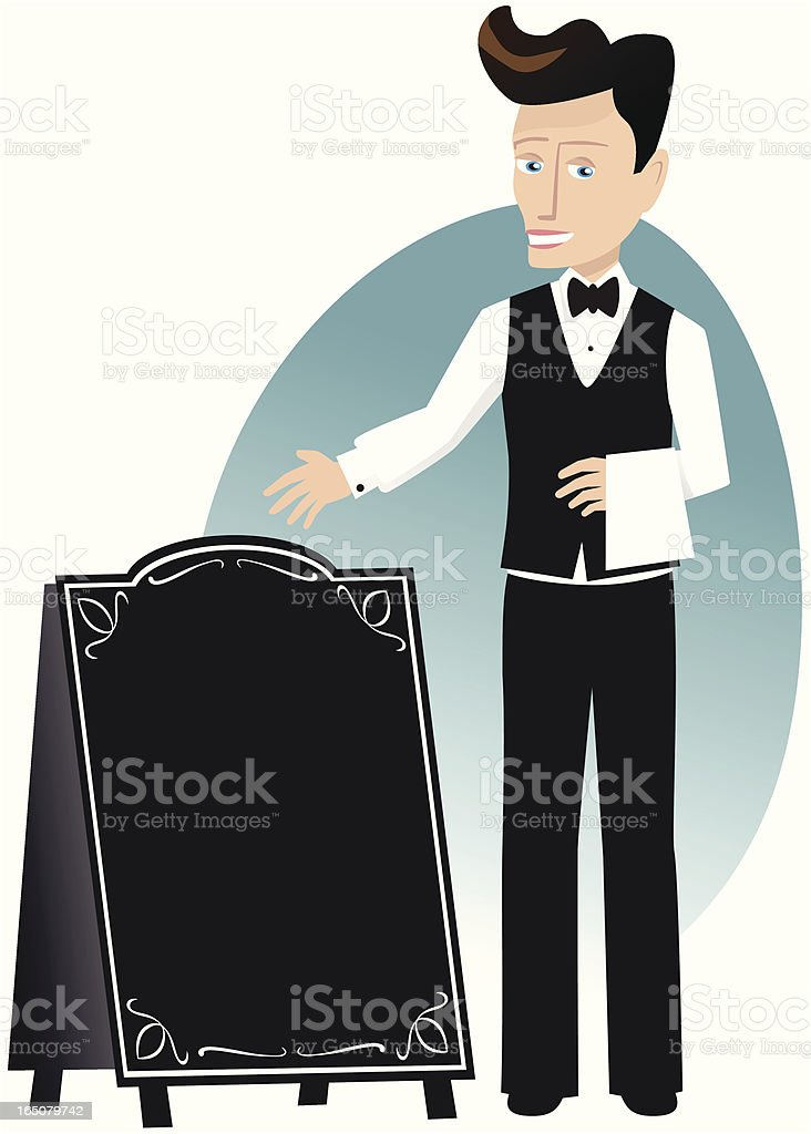Waiter and menu board royalty-free stock vector art