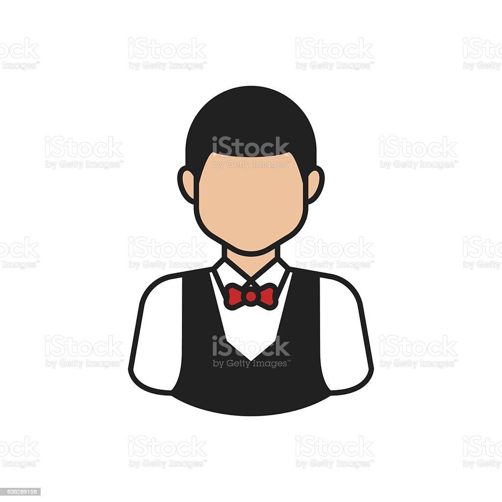 Waiter Avatar Thin Line Icon vector art illustration
