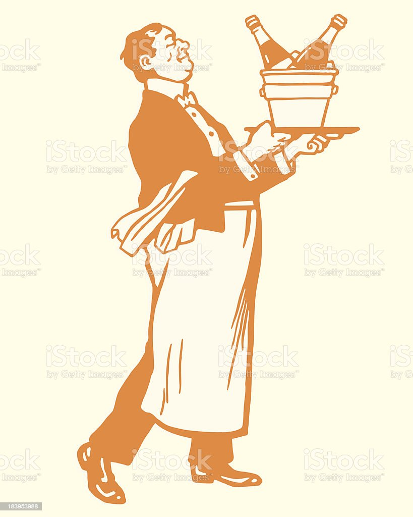 Waiter Carrying Champange on Ice vector art illustration