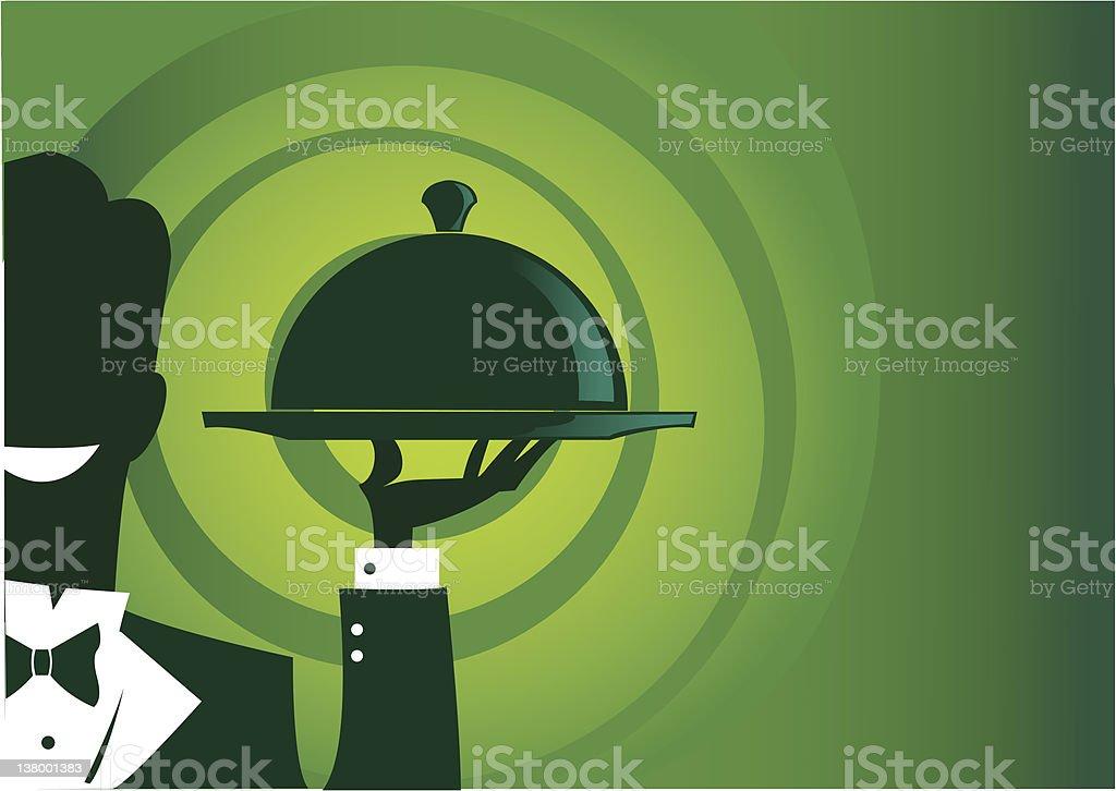 Waiter Carrying Trey vector art illustration
