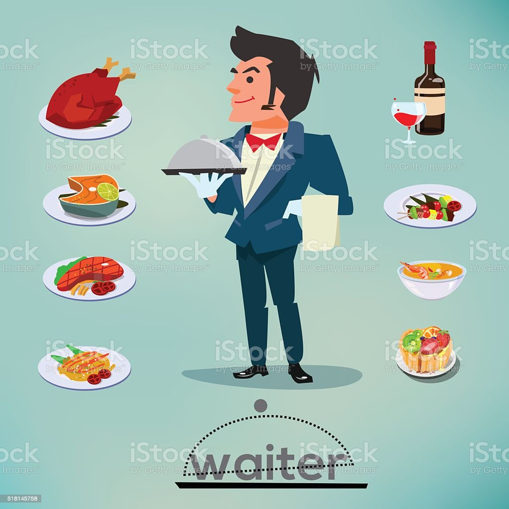waiter character design with food and drink set - vector vector art illustration
