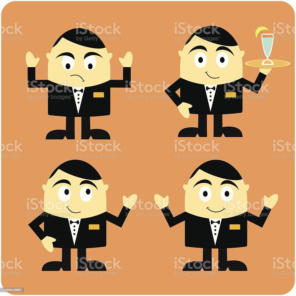 Waiter Character vector art illustration