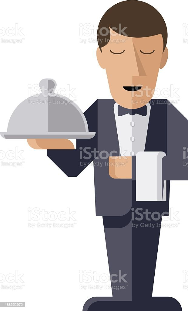 Waiter character with serving platter vector art illustration