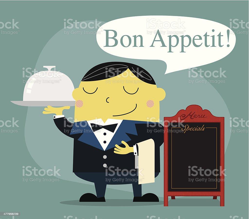 Waiter for fine dining - Illustration vector art illustration