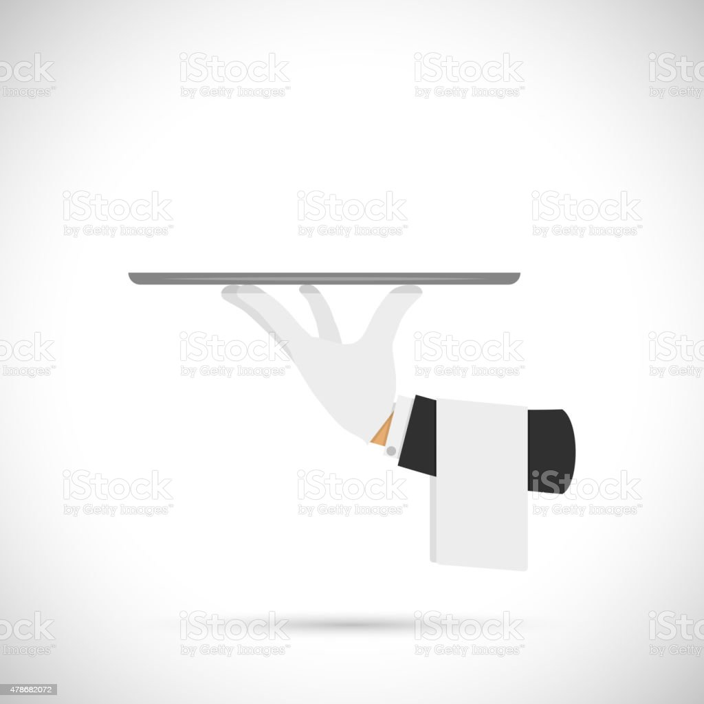 Waiter hand with tray and towel. vector art illustration