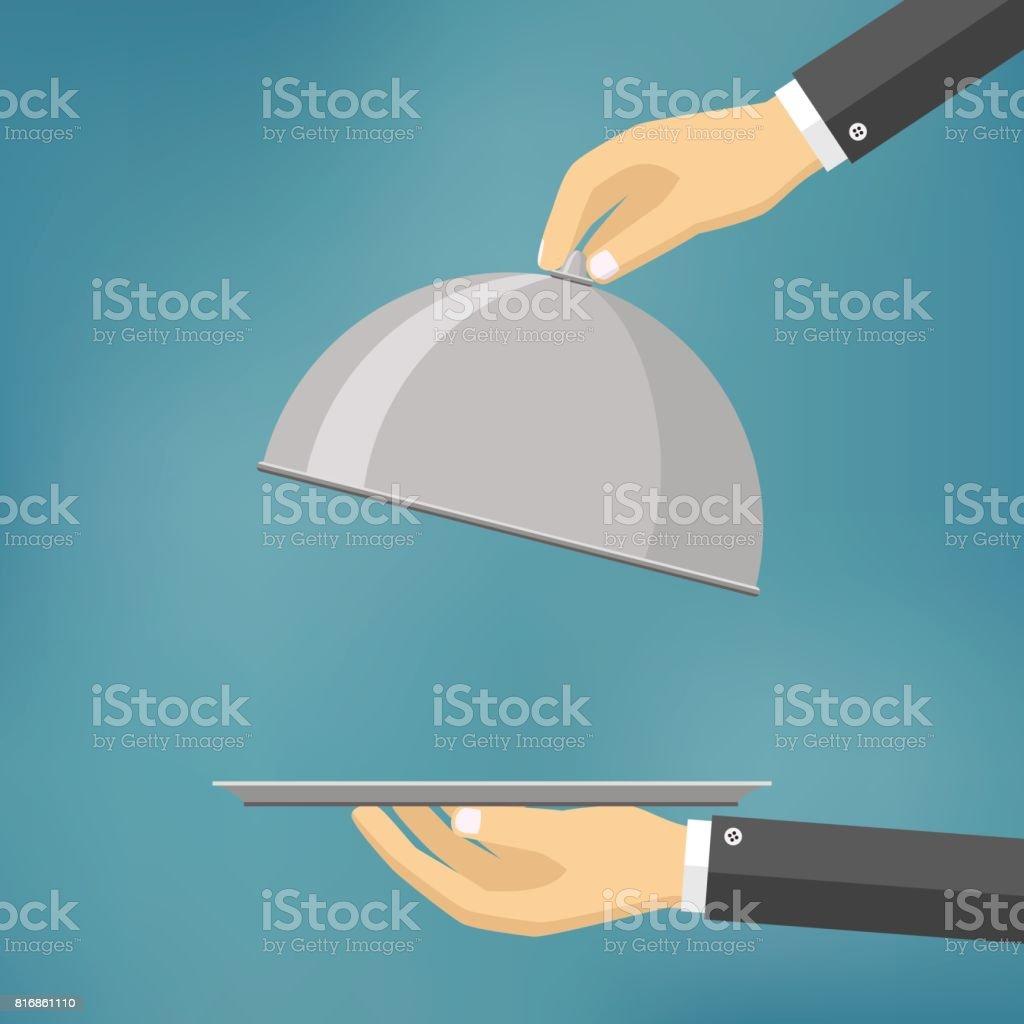 Waiter holding a cloche. vector art illustration