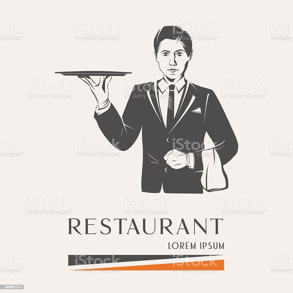 Waiter holding a tray isolated vector vector art illustration