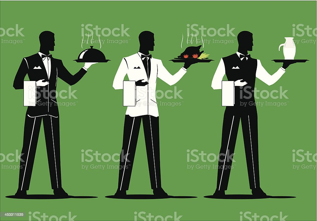 waiter holding a tray with various uniform 2 vector art illustration
