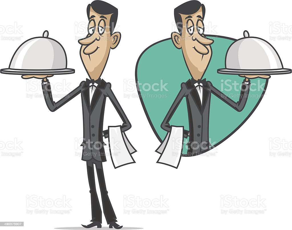 Waiter holds tray with hot snack vector art illustration