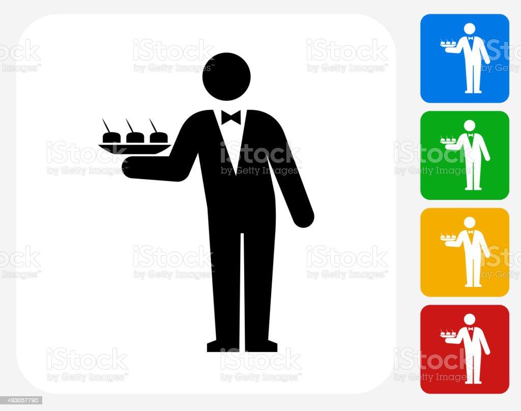 Waiter Icon Flat Graphic Design vector art illustration