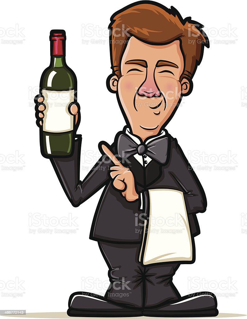 Waiter Illustration with Wine Bottle royalty-free stock vector art